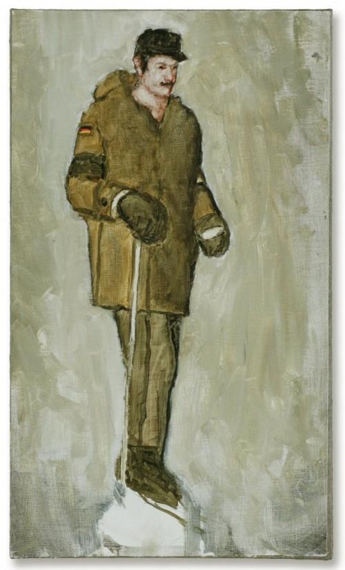 »Skifahrer«, 2004<br />oil paint on canvas, 60 x 50 cm<br />