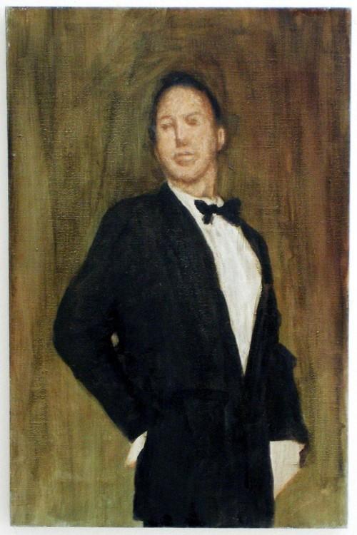 <i>Mann mit Fliege</i>, 2003<br />oil paint on canvas, 46 x 30 cm<br />