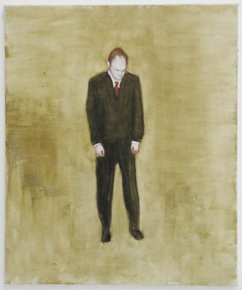 »Mann gebeugt«, 2003<br />oil paint on canvas, 60 x 50 cm<br />