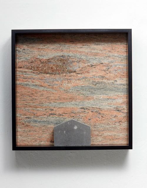 »Versteinerter Himmel XX, (Petrified Sky XX)«, 1983/2015<br />Granite, marble, MDF, concrete cobblestone, 60 x 60 x 15 cm<br />