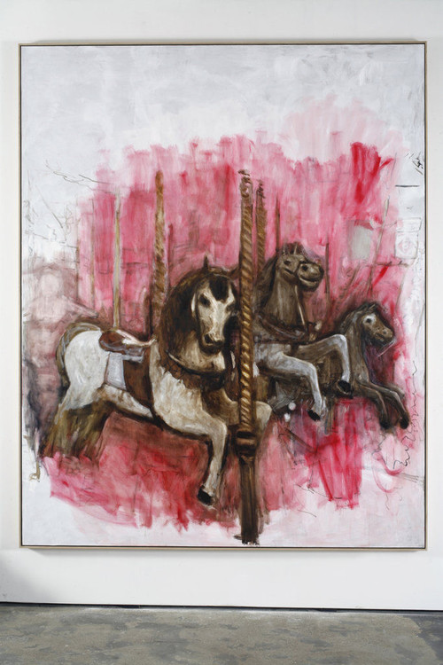 <i>Merry-go-round</i>, 2009<br />oil paint on canvas, 312 x 251 cm<br />