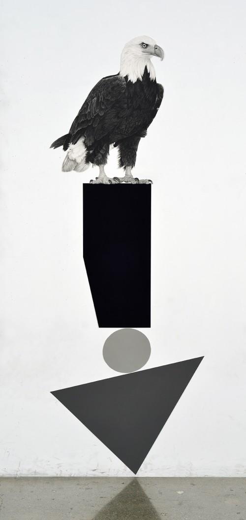 »Perched Eagle«, 2018<br />pencil on paper, 172.72 x 63.5 cm<br />