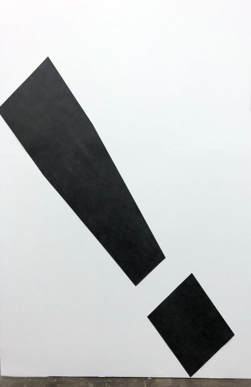 »Exclamation Point (sans-serif)«, 2018<br />pencil on cut paper, 179 x 38 cm<br />