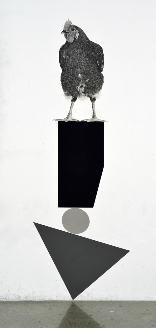 »Perced Chicken«, 2018<br />pencil on paper, 172.72 x 63.5 cm<br />