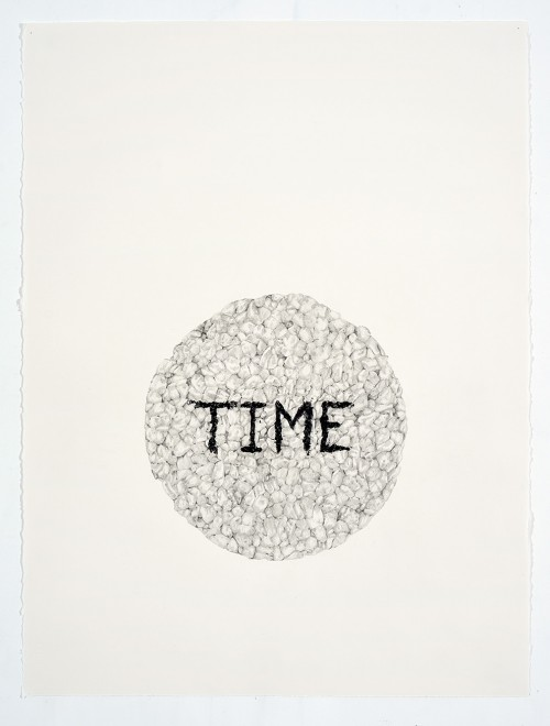 »Time (in a Ricecake)«, 2018<br />pencil on paper, 76.2 x 55.88 cm<br />