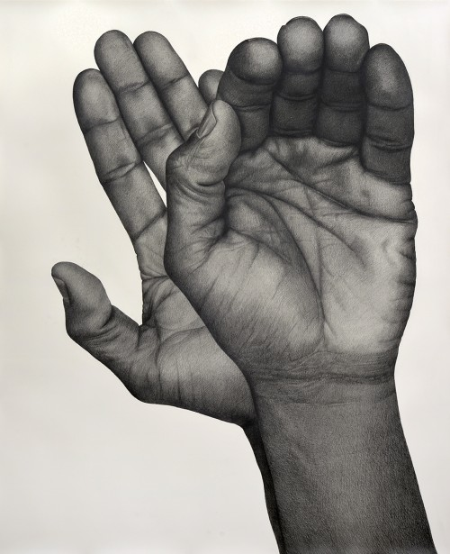 »Two Handed (Left)«, 2017<br />pencil on paper, 130.81 x 106.68 cm<br />