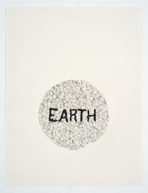 <i>Earth (in a Ricecake)</i>, 2018<br />pencil on paper, 76.2 x 55.88 cm<br />