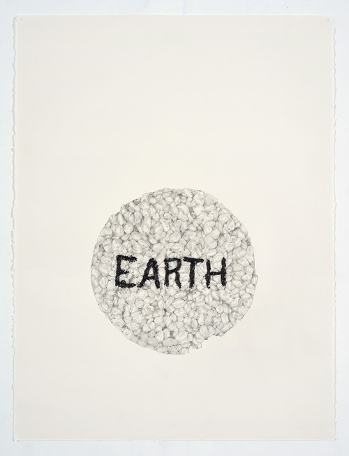 »Earth (in a Ricecake)«, 2018<br />pencil on paper, 76.2 x 55.88 cm<br />