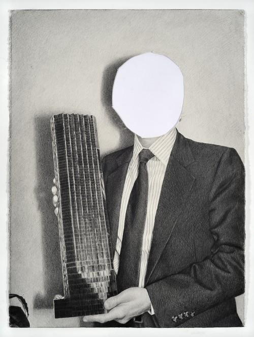 »Model (Mirrored)«, 2011<br />pencil  on cut paper, 76.2 x 55.88 cm<br />