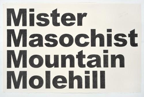 »Mister Masochist Mountain Molehill«, 2018<br />pencil on paper, 66.04 x 101.6 cm<br />