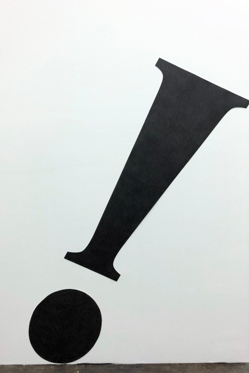 »Exclamation Point (serif)«, 2018<br />pencil on cut paper, 179 x 51.5 cm<br />