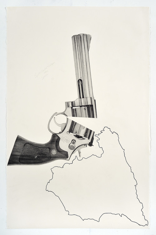 <i>Split Smith & Wesson over Spain</i>, 2018<br />pencil and ink on paper, 101.6 x 66.04 cm<br />