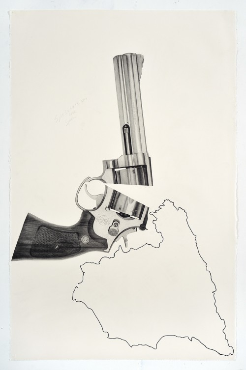 »Split Smith & Wesson over Spain«, 2018<br />pencil and ink on paper, 101.6 x 66.04 cm<br />