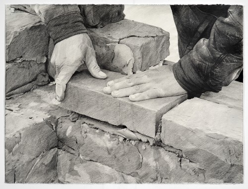»Bricklayer 2«, 2017<br />pencil on paper, 55.88 x 76.2 cm<br />