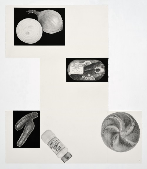 »Theme Time-Food (fischbrötchen)«, 2018<br />pencil and enamel on paper, 102 x 88 cm<br />