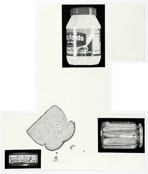 <i>Theme Time-Food (tuna sandwich)</i>, 2014<br />pencil and enamel on paper, 102 x 88 cm<br />