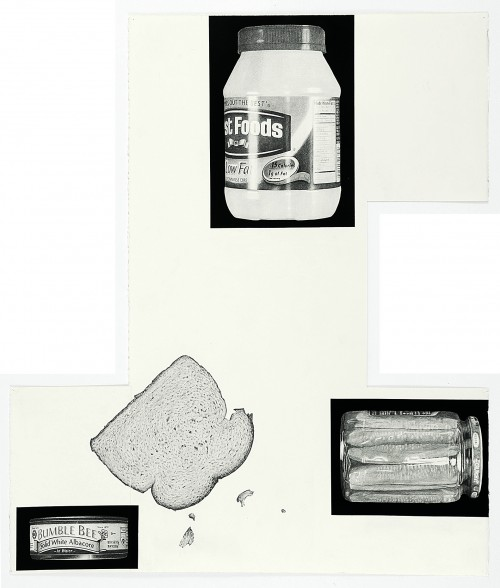 »Theme Time-Food (tuna sandwich)«, 2014<br />pencil and enamel on paper, 102 x 88 cm<br />