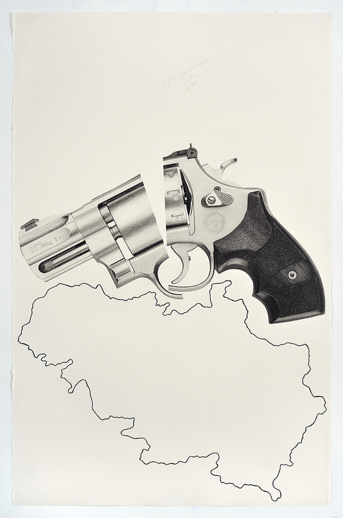 <i>Split Smith & Wesson over Serbia</i>, 2018<br />pencil and ink on paper, 101.6 x 66.04 cm<br />