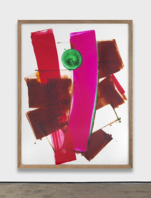 »I Love You (pink crossing brown)«, 2012<br />acrylic paint behind glass, 250 x 194 cm<br />
