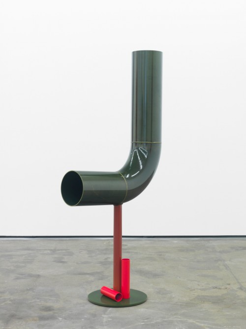 »Body language: Yellow bow«, 2012<br />powder coated steel, 167 x 0 Ø 77 cm<br />