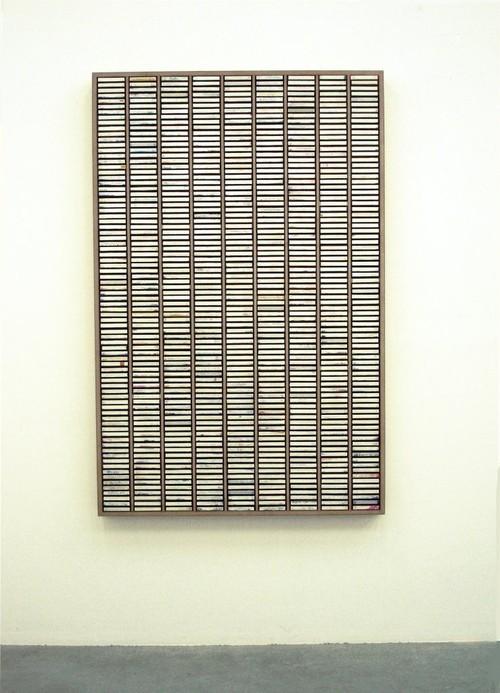 <i>Kassettensetzkasten</i>, 2007<br />dispersion on printed cardboard, plastic in wooden case, 172 x 112 cm<br />