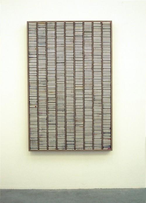 »Kassettensetzkasten«, 2007<br />dispersion on printed cardboard, plastic in wooden case, 172 x 112 cm<br />