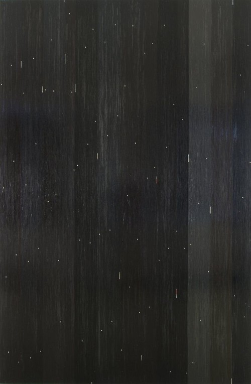 <i>Fernand (Brel)</i>, 2007<br />cassette tape, crepe on canvas, 292 x 192 cm<br />