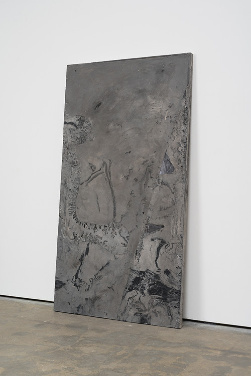 <i>DUO 9</i>, 2014<br />jesmonite, pigment, paper, 215 x 116 x 5 cm<br />alternate view