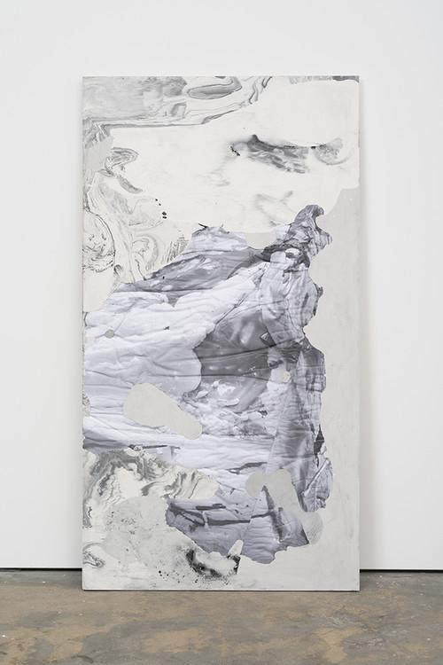 <i>DUO 11</i>, 2014<br />jesmonite, pigment, paper, 215 x 116 x 5 cm<br />