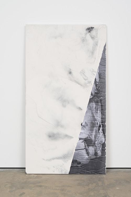 <i>DUO 10</i>, 2014<br />jesmonite, pigment, paper, 215 x 116 x 5 cm<br />