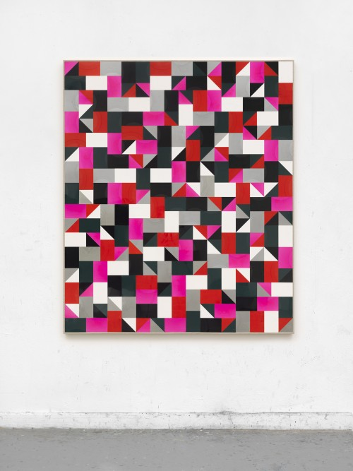 »ghasly trees dancing downtown (PAAR)«, 2018<br />cut vinyl records, canvas, wood, 154 x 131 cm<br />