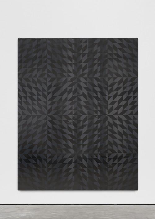 »Ich hab mich auf den Boden gelegt (Toco)«, 2018<br />cassette tape on canvas, 170 x 125 cm<br />