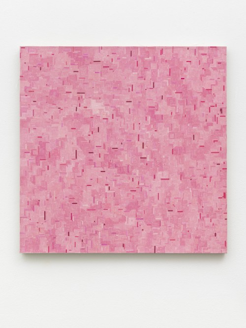 »pink mich zu Ende«, 2018<br />start and end of audio cassettes, acrylic on canvas, 74 x 74 cm<br />