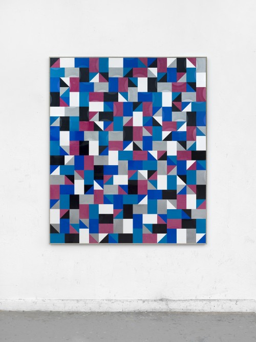 »in the city (P//R)«, 2018<br />cut vinyl records, canvas, wood, 154 x 131<br />