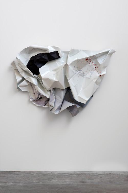 »Nicolas de Staël«, 2014<br />Aluminium, stainless steel, digital print, 145 x 200 x 35 cm<br />