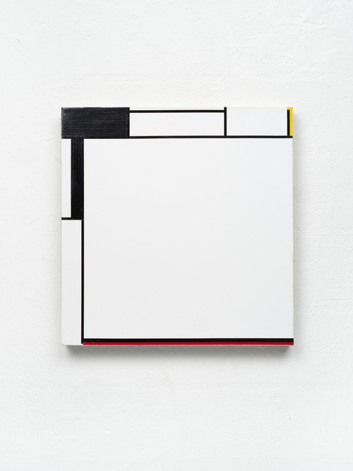 <i>KAAAHAARZ</i>, 2020<br />start and end of audio cassettes, audio cassette tape and acrylic on canvas, 34 X 33 cm<br />
