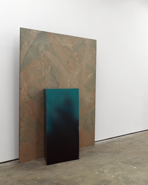 »Hole in the Wall II«, 2010<br />oil paint on paper, aluminium, wood, paint, 232 x 148 x 2.3 cm<br />