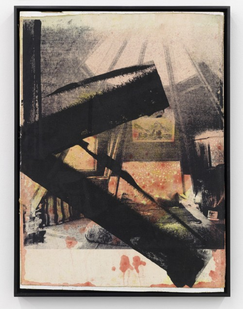 »Shelter I«, 2010<br />silk-screen print, oil paint on linen mounted on wood, 73.5 x 55.5 x 4 cm<br />