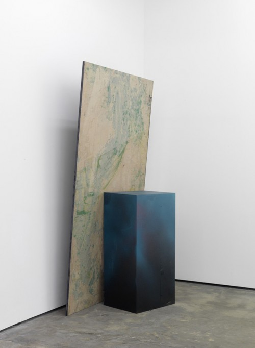 »Hole in the Wall I«, 2010<br />oil paint on paper, aluminium, wood, paint, 232 x 148 x 2.3 cm<br />