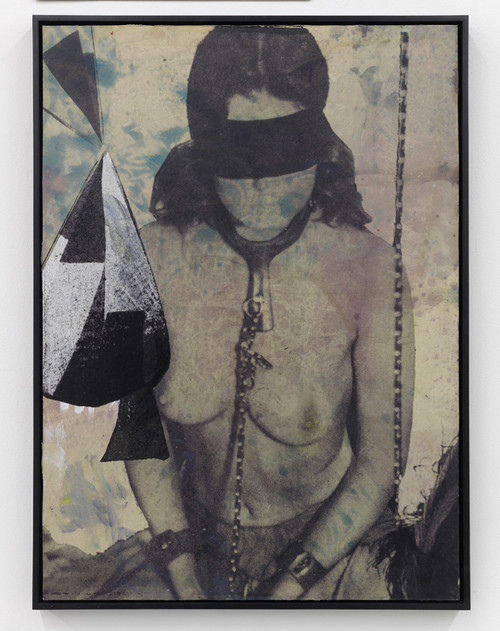 <i>Shelter II</i>, 2010<br />silk-screen print, oil paint on linen mounted on wood, 73.5 x 55.5 x 4 cm<br />
