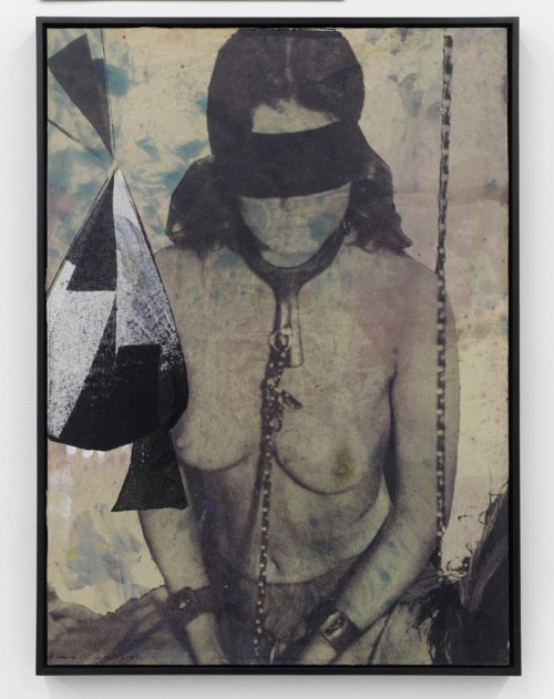 »Shelter II«, 2010<br />silk-screen print, oil paint on linen mounted on wood, 73.5 x 55.5 x 4 cm<br />