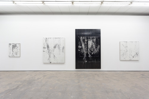 <i>Matroschkiatische Systeme</i>, 2013<br />4 individual works, cassettes tape, acrylic and adhesive tape on canvas<br />