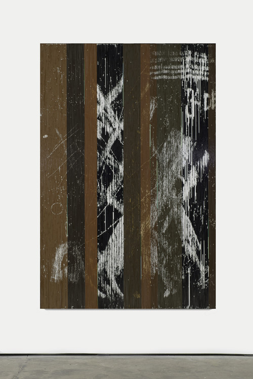 <i>Jadische Säulen</i>, 2013<br />cassettes tape, acrylic and adhesive tape on canvas, 222 x 147 cm<br />