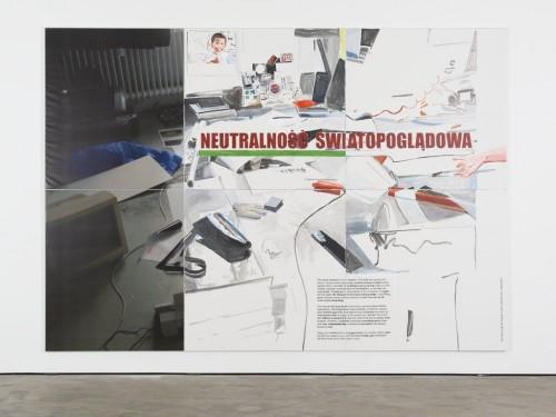 »Weltanschauliche Neutralität«, 2013<br />acrylic on canvas and print on PVC, 280 x 400 cm<br />