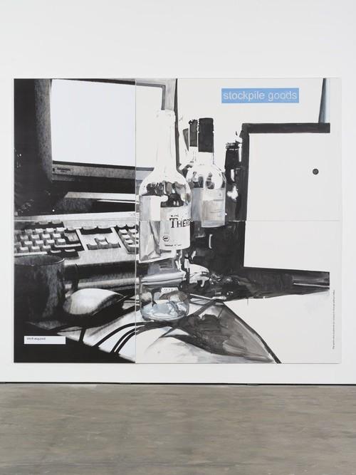 <i>Goods</i>, 2013<br />acrylic on canvas and print on PVC, 280 x 320 cm<br />