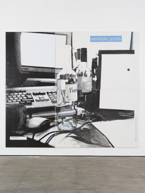 »Goods«, 2013<br />acrylic on canvas and print on PVC, 280 x 320 cm<br />