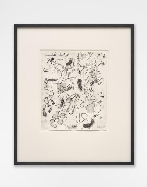 <i>Mantis Mannequin</i>, 2020<br />graphite pencil on paper, 55 x 47 cm (framed)<br />