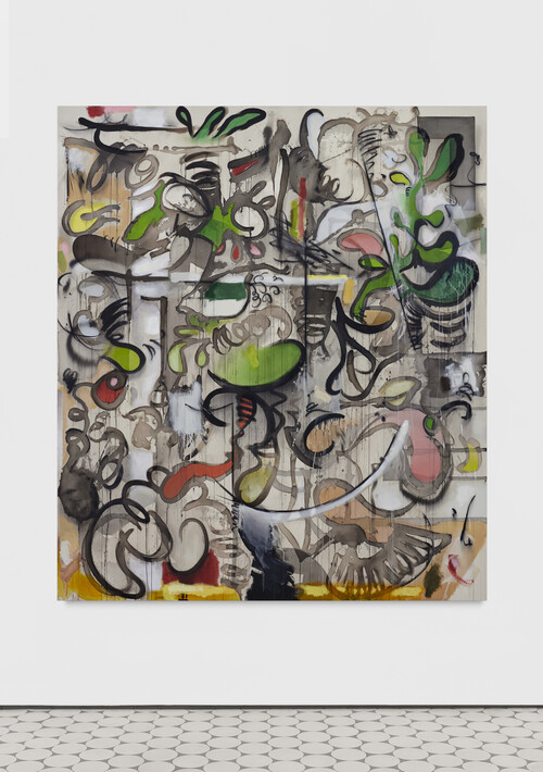 <i>Matcha Mantis</i>, 2020<br />ink, acrylic, charcoal and oil pastel color on canvas, 230 x 200 cm<br />