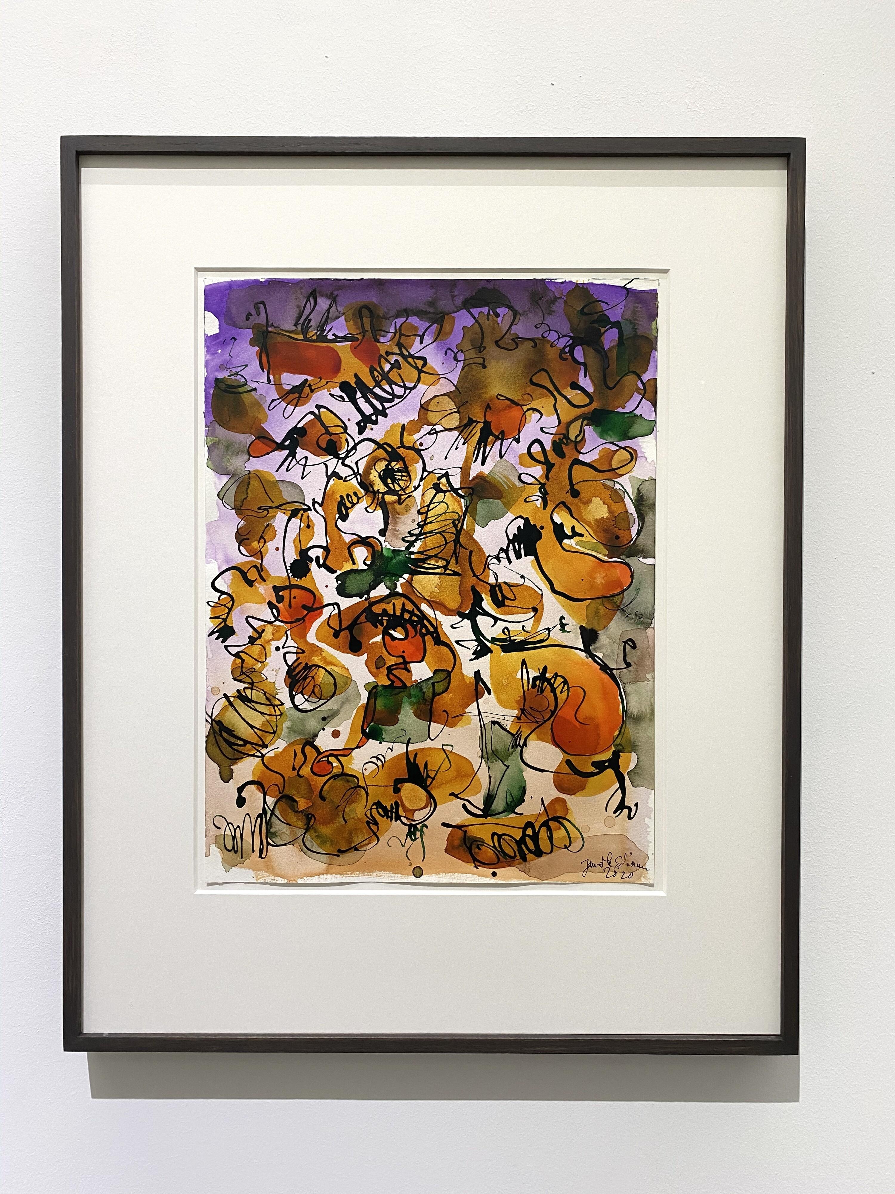 <i>Untitled (Mantis Mannequin 4)</i>, 2020<br />watercolour ink on paper, 55 x 47 cm (framed)<br />