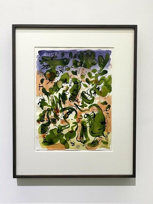 <i>Untitled (Mantis Mannequin 1)</i>, 2020<br />watercolour ink on paper, 55 x 47 cm (framed)<br />